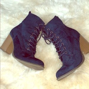 Blue suede lace up ankle boots